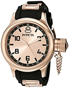 Invicta Men's 1439 Russian Diver Rose Dial Black Rubber Watch