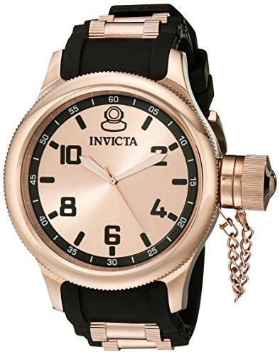 - Invicta Men's 1439 Russian Diver Rose Dial Black Rubber Watch