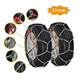 OrionMotorTech 12mm Anti-Skid Snow Tire Chains, Emergency Mud Snow Tire Security Chains for Passenger Vehicle, 2 Sets