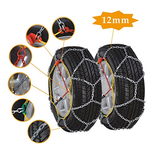 12mm Anti-Skid Snow Tire Chains, Emergency Mud Snow Tire Security Chains for Passenger Vehicle, 2 - Snow List Sports