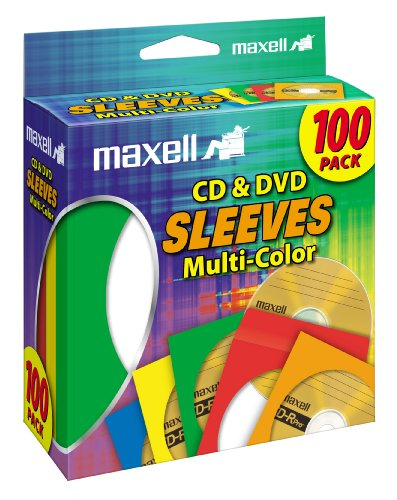 Paper Cd Sleeves (Maxell 190132 Cd & Dvd Sleeves Multi-Color100Pk (Paper))