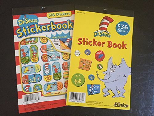 Set of 2 Dr Seuss - CAT in the Hat STICKER Books Over 1000 Total - Motivational READING Rewards TEACHER CLASSROOM - Doctor Dentist (Combo 1 - 1052 - Thousand Dr