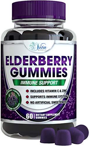 Sambucus Elderberry Gummies Adults Kids - 100mg Cold and Flu Immune Support Adult and Children Black Elderberry Gummy Organic Vegan Natural Formula (1 Pack)