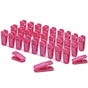 Igoolee Plastic Baby Hanger Clips, 30 Pcs Slim-line Finger Clips Set for Clothes Hanger or Velvet Hanger(Pink)