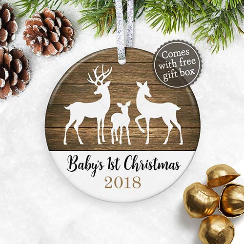 babys first christmas ornament 2018 baby shower gift for new baby deer fawn new - Gender Neutral Christmas Gifts