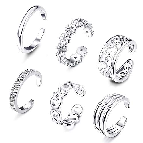 Besteel 6 Pcs Toe Rings for Women Girls Adjustable Open Toe Ring Gifts Jewelry Set (F:6 Pcs Sliver-Tone) ()