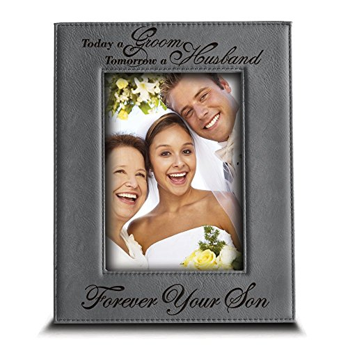 BELLA BUSTA Today a GROOM, Tomorrow a HUSBAND, Forever Your SON- Engraved Leather Picture Frame- Weeding gift for Mom and Dad (5