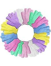 14 زوجًا من قفازات التقشير، قفازات حمام مقشر للجسم للاستحمام والاستحمام والسبا والتدليك وتقشير الجسم (7 ألوان)