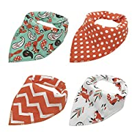 Baby Bandana Drool Bibs, Good for Drooling and Teething - Unisex 4 Pack Bulk for Boys and Girls, Thick and Lightweight (Orange Fox)