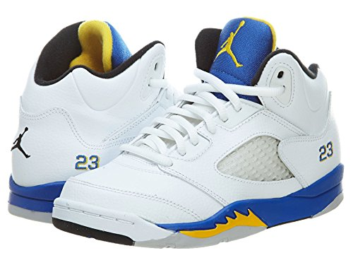 nike Air Jordan 5 Retro (Ps) Kids Hi Top Trainers 440889 Sneakers Shoes (UK 2.5 us 3Y EU 35, white varsity maize varsity royal black - Uk Jordans Womens