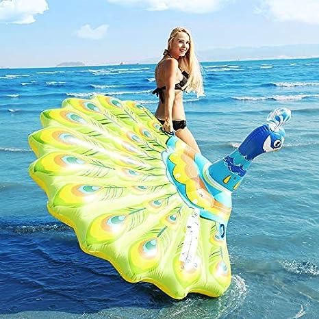 Paon Flottant Jouets Gonflables Géants De L'eau Bleue De Rangée Bleue, Jouets D'eau De Bouée Animale Anneau De Bain Flottant Gonflable, Cadeaux-193 * 163 * 94cm
