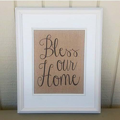 Burlap Home Decor: Amazon.com: Burlap Print, Bless Our Home, Blessed, Rustic