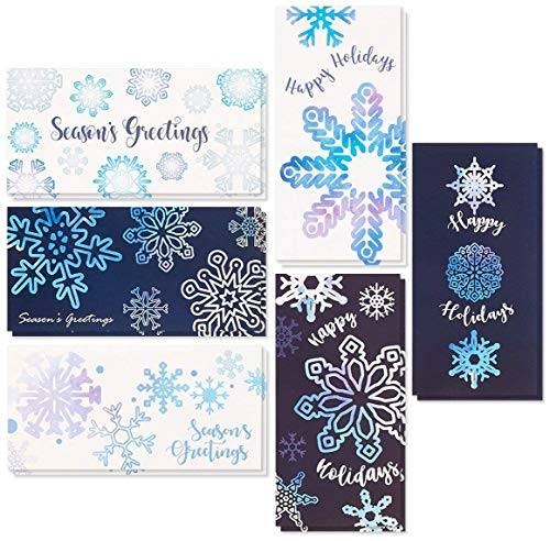 36-Pack Merry Christmas Holiday Greeting Card - Xmas Money and Gift Card Holder Cards in 6 Cute Snowflake Designs, Bulk Assorted Winter Holiday Cards Box Set with Envelopes Included, 3.6 x 7.25 Inches