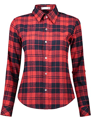 DOKKIA Women's Casual Blouses Long Sleeve Plaid Checkered Button Down Flannel Shirts (Small, Black Red Plaid) Black Checked Flannel