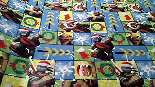 Christmas Wrapping Teenage Mutant Ninja Turtle Santa Hat Holiday Paper Gift Greetings 1 Roll Design Festive Wrap TMNT Square (Homemade Ninja Turtle Halloween Costumes)