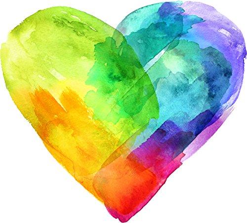 (Pretty Colorful Tye Dye Watercolor Cartoon - Heart Vinyl Decal Sticker (4