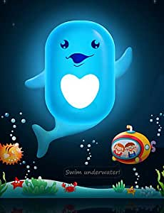 CY Cute Cartoon Dolphin Light Induction Control LED Wall Lamp Night Light Night lamp Children Christmas Birthday Gift , white