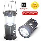 Camping Lantern, Trymie 3 in 1 Portable Solar Rechargeable LED Tent Lantern Lamp Built-in Rechargeable battery Collapsible Handheld Flashlights with USB Power Bank for Fishing, Emergency, Hiking, Indoor or Outdoor (Black)