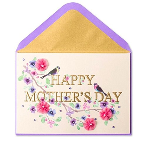 Mothers Day Card Elegant Letters, Birds, and Flowers on Branch Happy Bird Day Collection