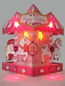 Merry Go Round Birthday Card - Light & Melody Pop Up 3D Greeting Card -