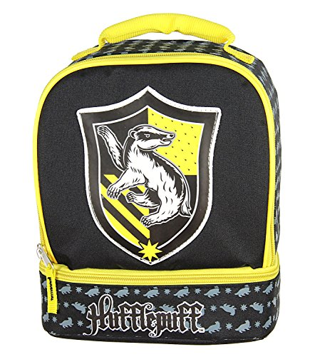 Harry Potter Lunch Box - Gryffindor, Slytherin, Ravenclaw, Hufflepuff Insulated Dual Compartment Tote Bag (Hufflepuff)