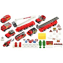 Brave Fire Fighters 40 Piece Mini Diecast Children's Kid's Toy Vehicle Playset w/ Variety of Vehicles, Accessories