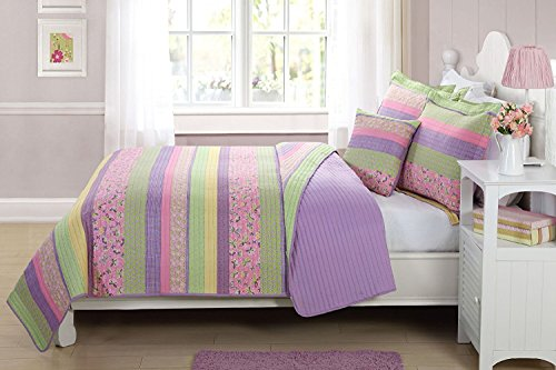 (Elegant Home Multicolor Purple Yellow Green Pink Fun Striped With Butterflies Printed Reversible Cozy Colorful 4 Piece Quilt Full Size Bedspread Set with Decorative Pillow for Kids / Girls (Full))