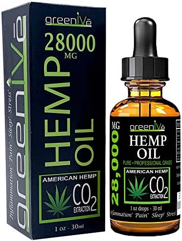 GreenIVe 28,000mg Hemp Oil for Pain, Stress, and Inflammation Vegan Omegas C02 Extraction Exclusively on Amazon (1)