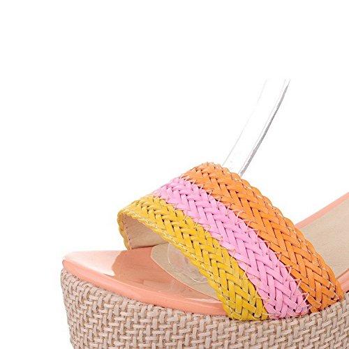 AllhqFashion Mujeres Hebilla Puntera Abierta Plataforma Cuero Colores Surtidos Sandalia Rosa