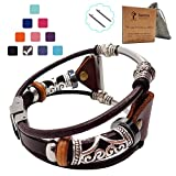 Smatiful Blaze Bands with Box Pack for Men, Adjustable (Small Mediume Extra Large XL are All Ok) Replacement Leather Watch Band Compatiable with for Fitbit Blaze, Gray Coffee Brown Smooth