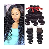 4PCS/LOT Deep Curly Hair 3 Bundles With Closure Non Remy Hair Free Part Lace Closure With Human Hair Bundles 1B#,18 18 18 & Closure16,Three Part