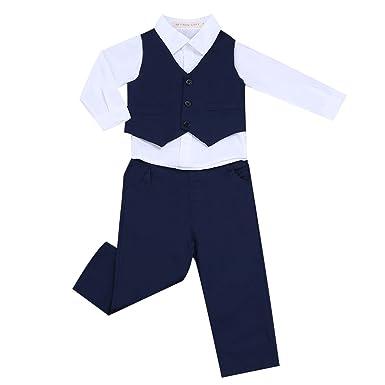 16e870919ada41 freebily Blanc Chemise Costumes de Baptême Mariage pour Bébé Garçon  Gentleman Déguisement Veste Gilet Tenues Pantalon