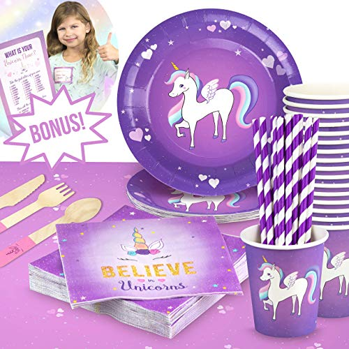 UNICORN BIRTHDAY PARTY SUPPLIES by The Party Emporium – Pink + Purple Themed Tableware ECO FRIENDLY Paper Plates - Cups - Napkins - Wooden Cutlery - Paper Straws - Serves 16 Guests - FREE BONUS Fun