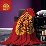 smallbeefly Leaf Digital Printing Blanket Artistic Design of Bodhi Tree Nature and Religion Yoga Meditation Summer Quilt Comforter Vermilion Ruby and Marigold