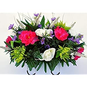 Spring Cemetery Flowers for Headstone and Grave Decoration-Pink Peony and White Rose Mix Saddle 14