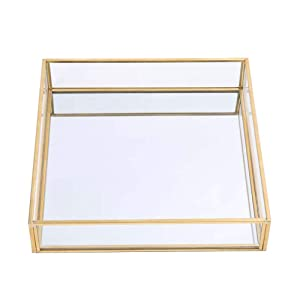 """Sooyee Gold Tray Mirror,Square Mirror Tray can Hold Jewelry,Perfume,Makeup,Breakfast,Tea,Food,Magazine and More, Decorative Tray for Vanity,Dresser,Bathroom,Bedroom,Office,Garden,Coffee Table (8""""x8"""")"""