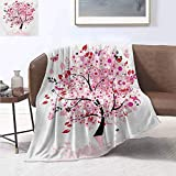 smllmoonDecor Tree Throw Blanket Abstract Tree with Floral Burst Blossoms Daisies Leaves Butterflies Forest Print Artwork Image 60'x50' Brown Red Pink White