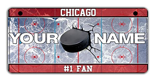 """BRGiftShop Personalize Your Own Hockey Team Chicago Motorcycle Golf Cart 4""""x7"""" License Plate Auto Tag"""