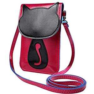 Bokeley Cartoon Purse Bag Leather Cross Body Shoulder Phone Coin Bag,Hot Pink
