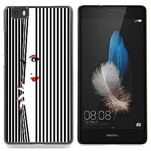 Stuss Case / Funda Carcasa protectora - Labios mujer Uñas Rojo Blanco Negro - Huawei Ascend P8 Lite (Not for Normal P8)