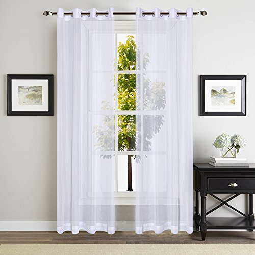 YOJA Sheer Window Curtain Voile Panels With Grommet Top, 2 Pack, 52 By  84 Inch, Solid White