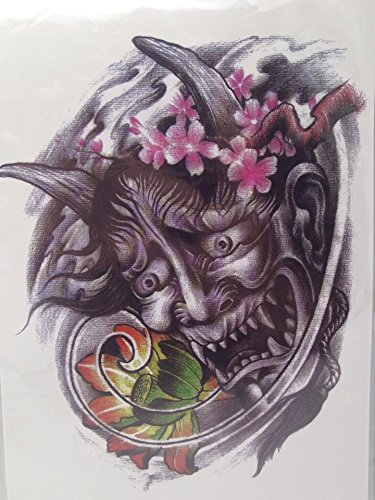 [Large Temporary Tattoos devil Sticker Body Art Make up for Men Women Fake Tattoo Paper Waterproof 5.5 x 7] (Third Leg Costume)