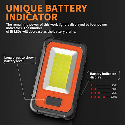 WAKYME 40W LED Rechargeable Work Light, Super Bright Portable Light, Magnetic Base&Hanging Hook, Work Light for Car Repairing, Camping, Hiking, Fishing, Hurricane, Emergency (Work Light 1Pack)