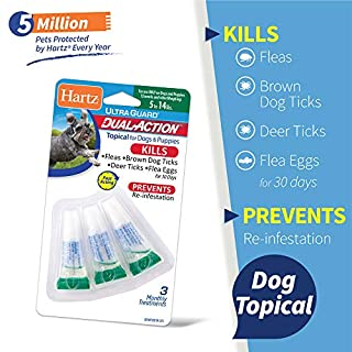 Hartz UltraGuard Dual Action Topical Flea & Tick Prevention for Dogs and Puppies - 5-14 lbs, 3 Monthly Treatments