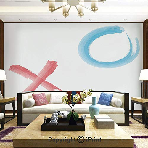 Mural Wall Art Photo Decor Wall Mural for Living Room or Bedroom,Hugs and Kisses Icons with Paintbrush Soft Pastel Watercolor Artwork Decorative,Home Decor - 66x96 inches