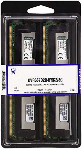 Kingston ValueRAM 8GB 667MHz DDR2 ECC Fully Buffered CL5 DIMM (Kit of 2) Dual Rank x4 Server Memory KVR667D2D4F5K2/8G - Pro Ddr2 667 Fully Buffered
