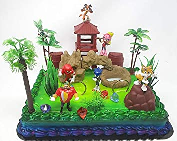 Awe Inspiring Sonic The Hedgehog Deluxe Birthday Cake Topper Set Featuring Sonic Funny Birthday Cards Online Elaedamsfinfo