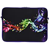 """Caseling Neoprene Sleeve Pouch Case Bag for 14"""" Inch Laptop Computer. Designed to fit any laptop / Notebook / Ultrabook / Macbook with Display size 14"""" inches. - Colorful/Black"""