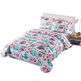 quilt set girls - MarCielo 3 Piece Kids Bedspread Quilts Set Throw Blanket for Teens Boys Girls Bed Printed Bedding Coverlet, Full Size, Purple Hoot (Full)