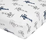 aden by aden + anais Classic Crib Sheet, 100% Cotton Muslin, Super Soft, Breathable, Tailored Snug Fit, Sky High - Plane